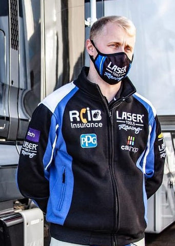 Ashley Sutton wearing the Laser Tools Racing Track Top