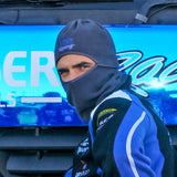 Aiden Moffat #16 wearing the Laser Tools Racing multifunctional snood as a balaclava.