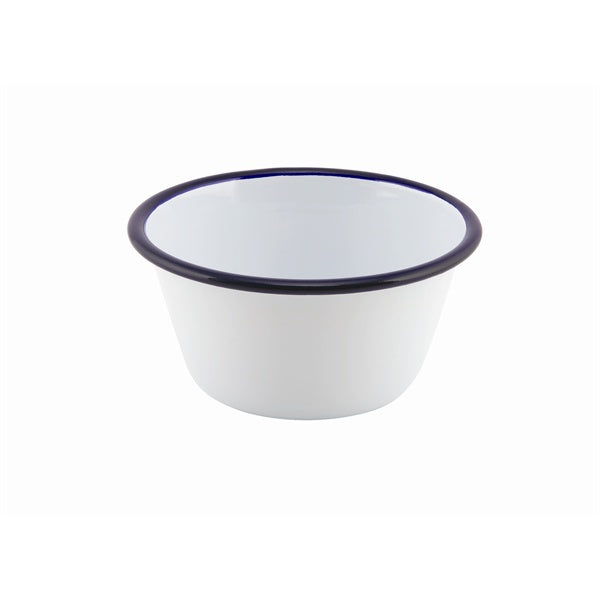Enamel Round Deep Pie Dish White & Blue 12cm