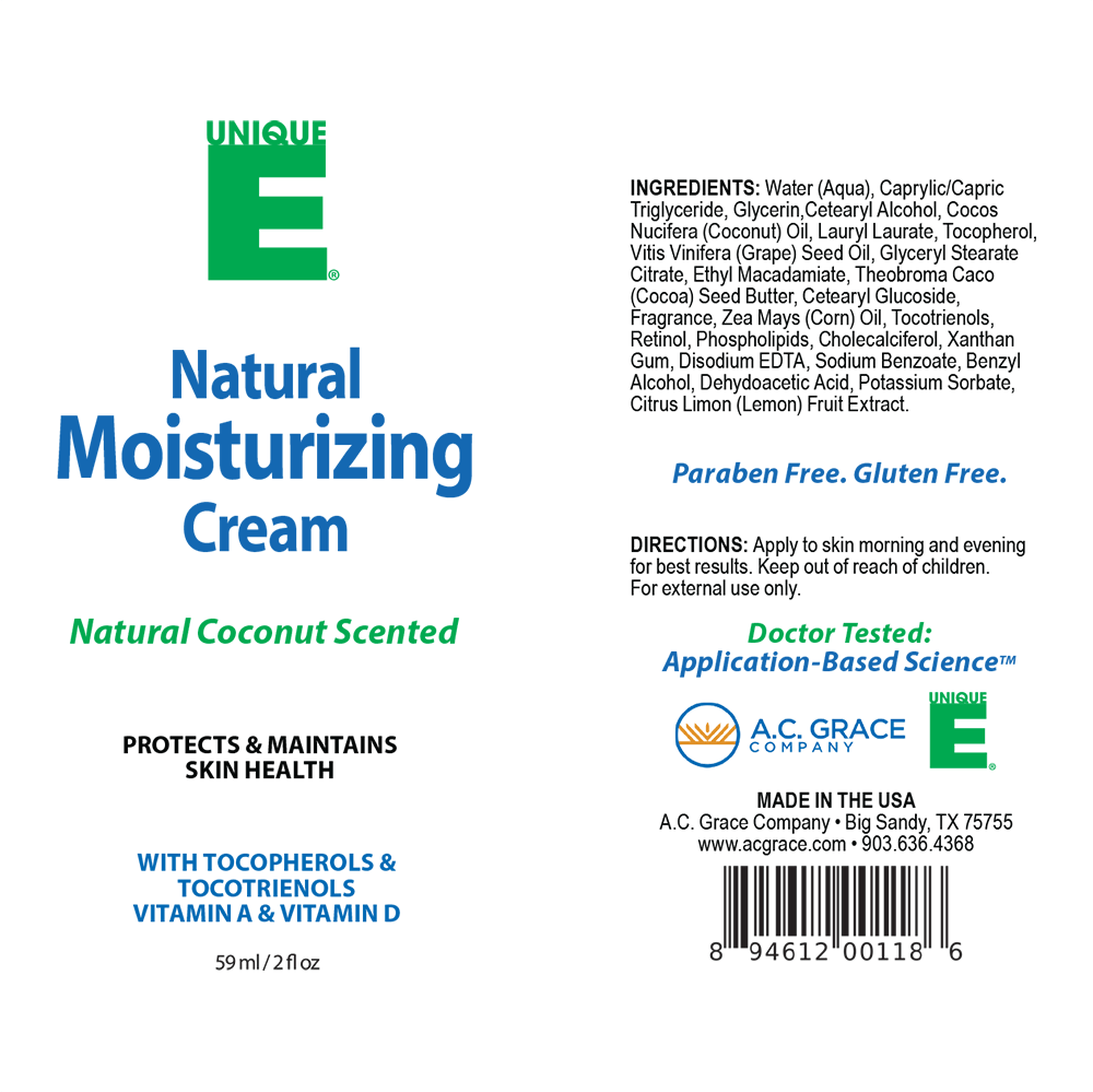 Load image into Gallery viewer, UNIQUE E® Natural Moisturizing Cream, Coconut Scented – 2 ounce tube