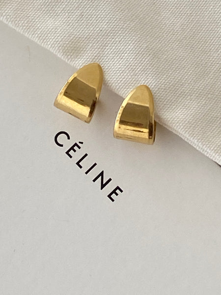 MONET 22k 1970 Modernist Arch Gold Plated Pierced Earrings