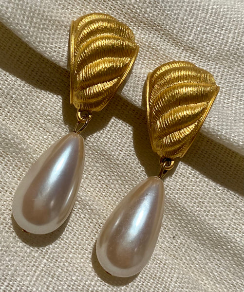 GIVENCHY Faux Pearl Clip On Earrings