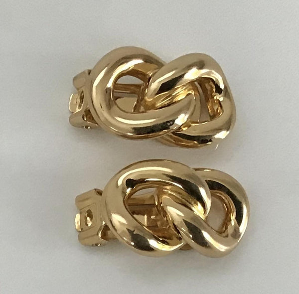 CHRISTIAN DIOR 1980 Link Clip On Earrings