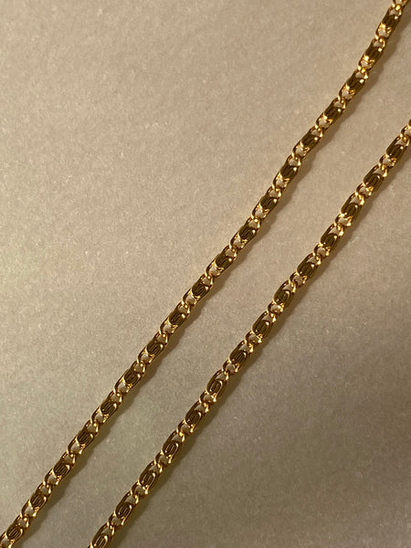 1970-1980 Fine S Curb Gold Plated Chain Necklace