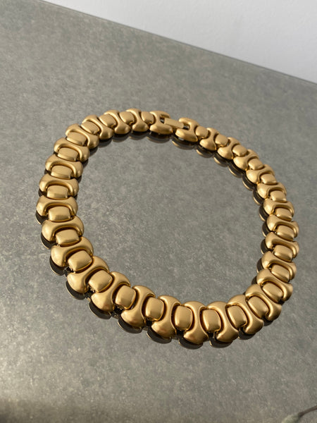 MONET 22k Geo Brushed Gold Plated Necklace