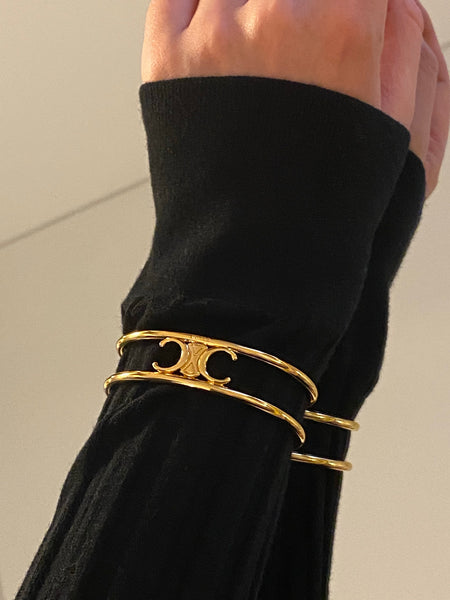 Iconic CELINE Macadam Gold Plated Bangle Bracelet