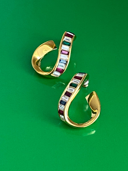OROTON Coloured Stone Gold Plated Pierced Earrings