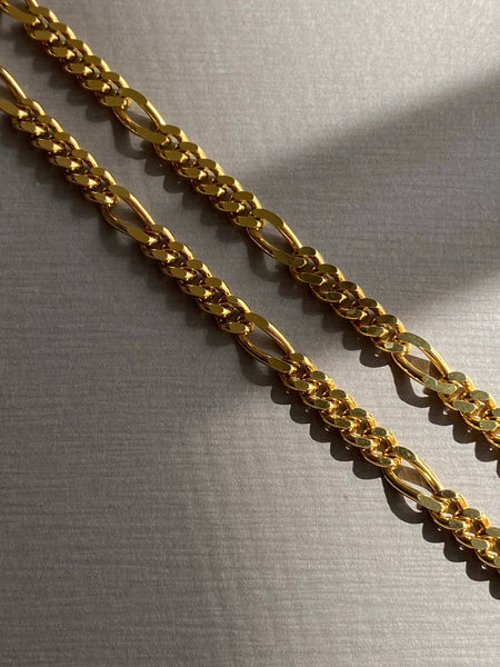 1970-1980 Figaro Link Gold Plated Chain Necklace