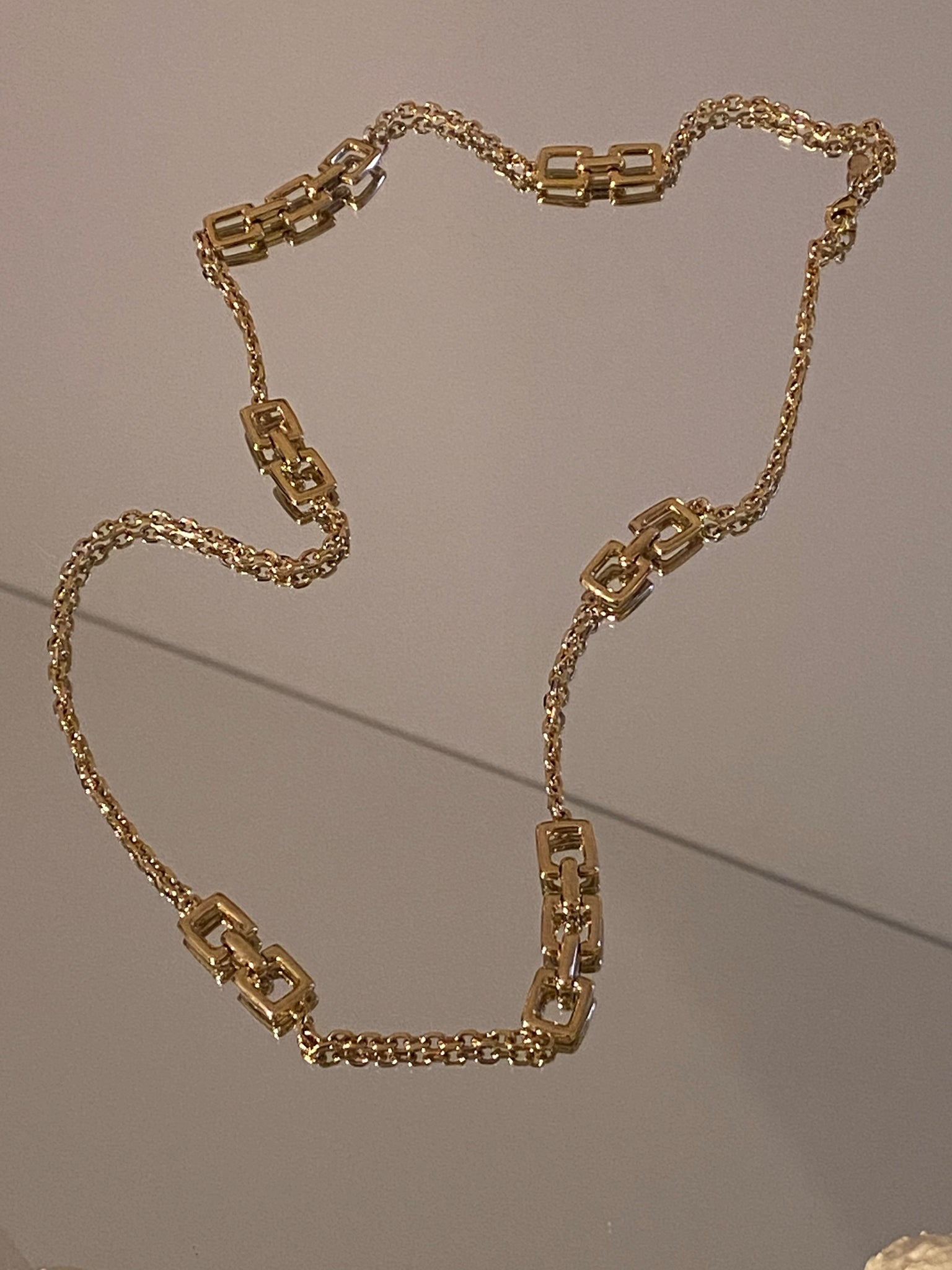 1970-1980 Gold Plated Square Link Chain Necklace