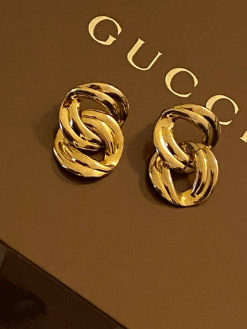 1980 Gold Plated Link Pierced Earrings