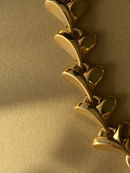1970-1980 Gold Plated Detailed Chain Bracelet