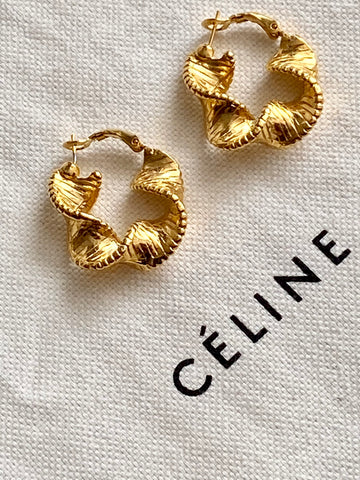 1970 Twisted Gold Plated Hoop Pierced Earrings