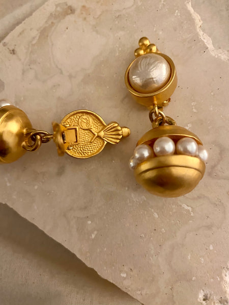 RARE KARL LAGERFELD Early 1980 Matte Gold Baroque Pearl Clip On Earrings