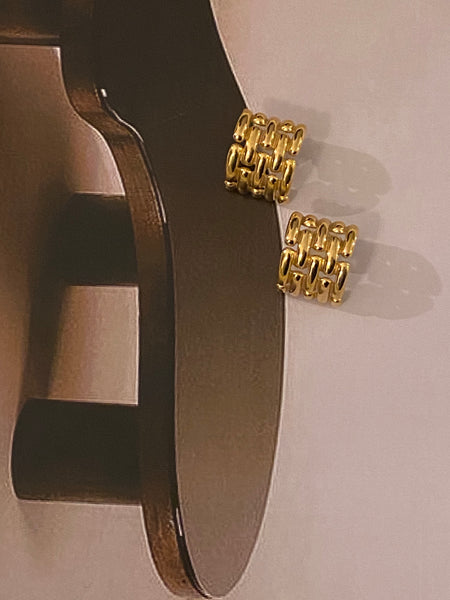 GIVENCHY Panther Chain Gold Plated Pierced Earrings