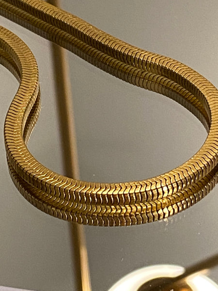 1970-1980 Heavy Snake Gold Plated Chain Necklace