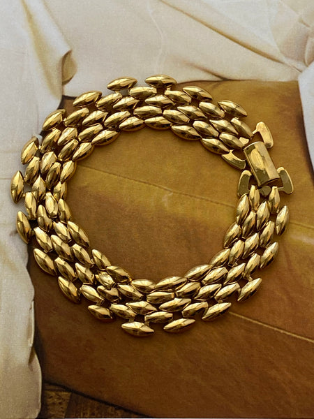 1970-1980 Gold Plated Panther Chain Bracelet