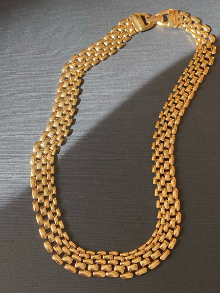 1970-1980 Gold Plated Panther Chain Necklace
