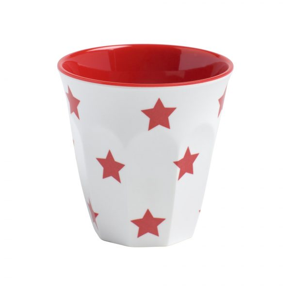 Espresso Cup - with Red Stars, 200ml, White
