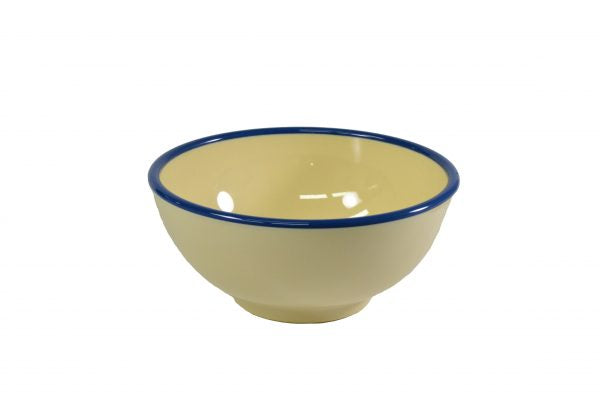 Round Bowl - 150x70mm, Vintage Yellow with Blue Rim