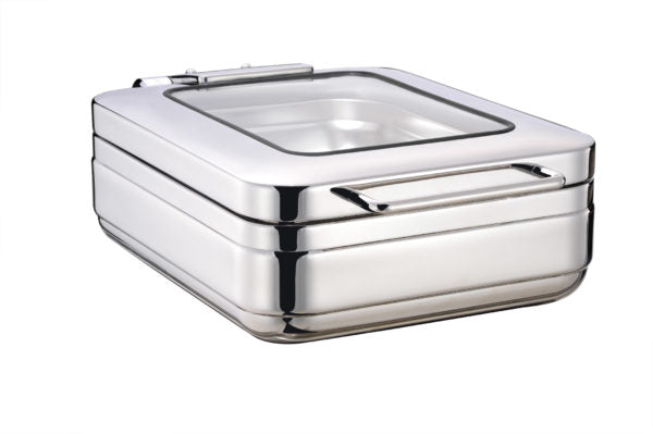 Rectangular Induction Chafer With Glass Lid, 18-8, 1-2 Size