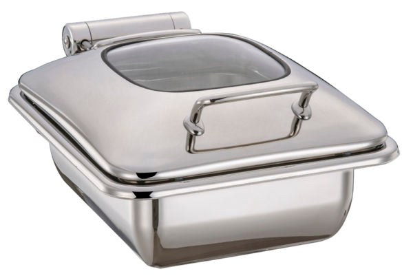 Rectangular Ultra Chafer With Glass Lid, Stainless Steel, 1-2 Size