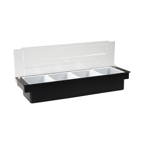 Condiment Dispenser - Plastic, Black, 4 Comp.
