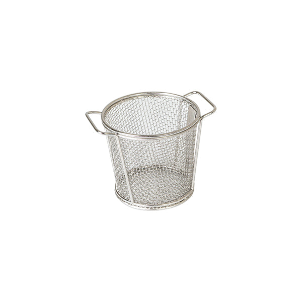 Brooklyn Round Service Basket - Stainless Steel, 80x90mm, with handles