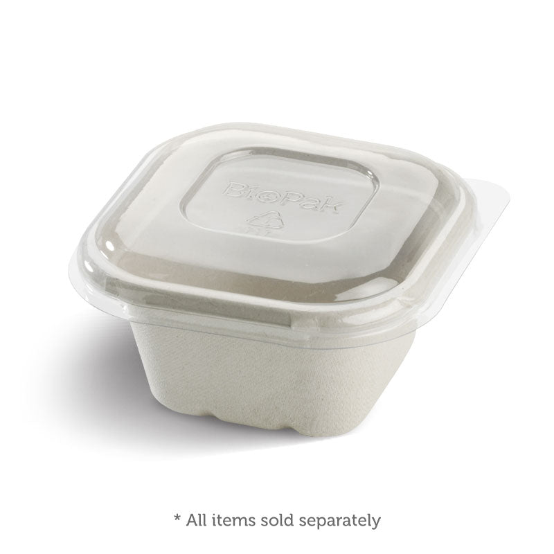 Lid to fit Square Sugarcanne Containers - Clear (Box of 600)