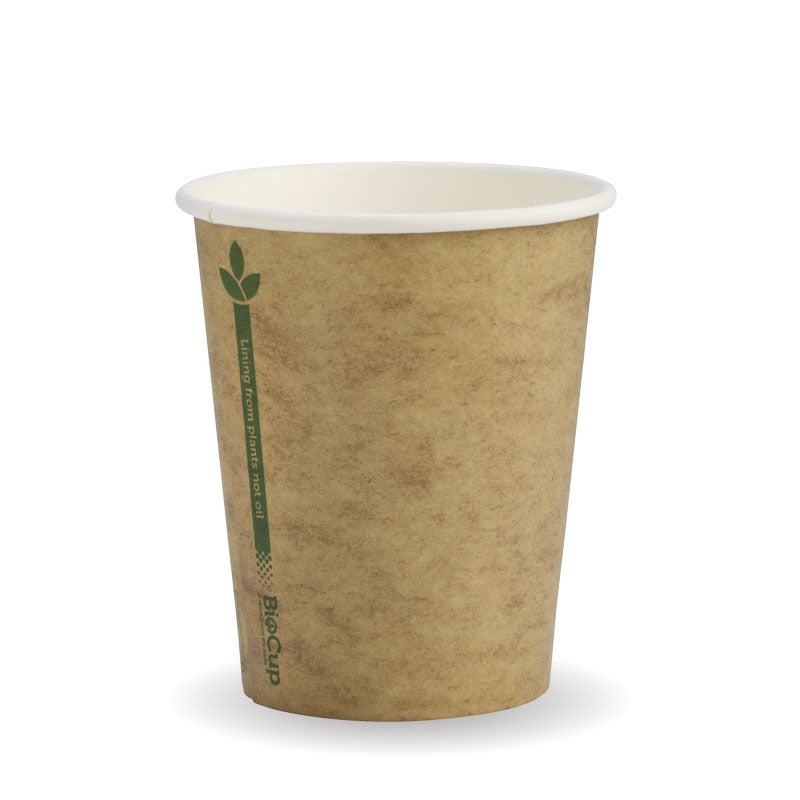 Biocup Single Wall - Kraft with Green Line, 8oz (Box of 1000)