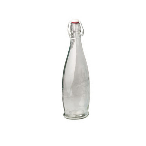 Glass Bottle - Clear, Modern, 1.0Lt (Box of 8) ***30% off. Was $28.16***