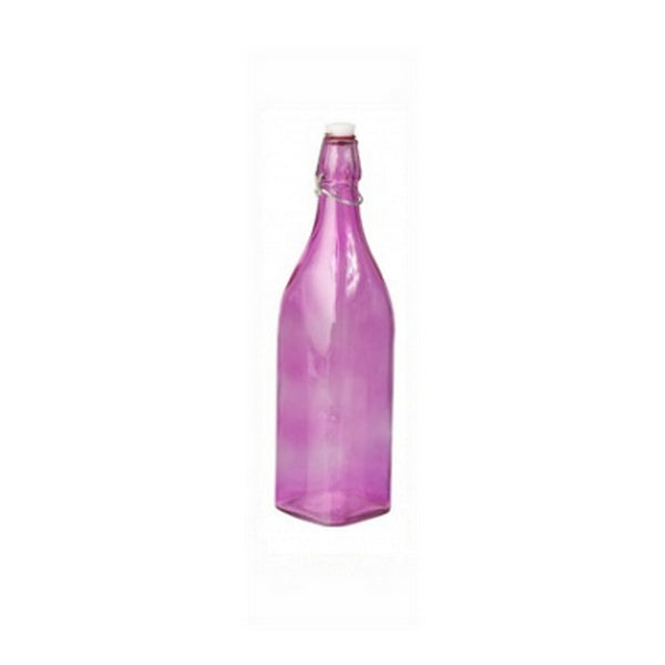 Glass Bottle - Pink, Square, 1.0Lt