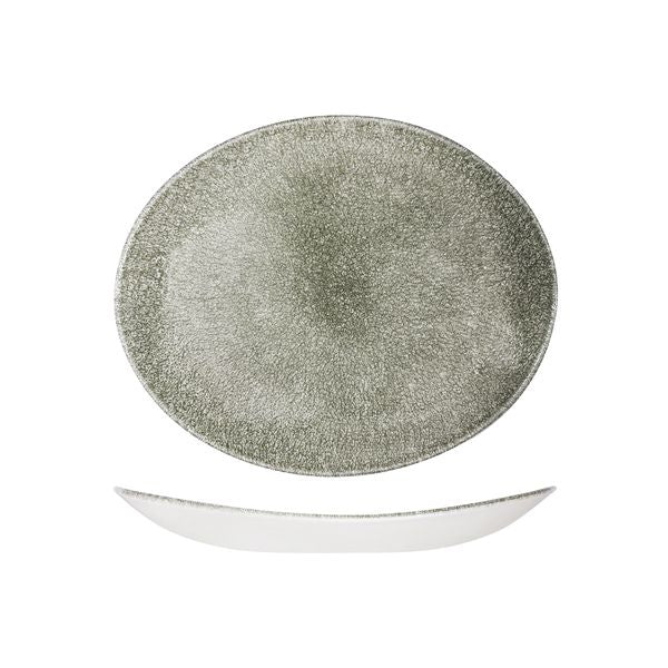 Oval Plate - Coupe, 270 x 229mm, Raku Quartz Black