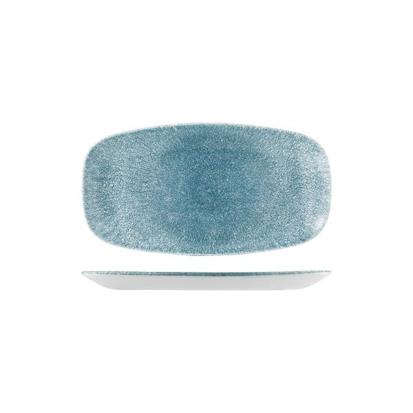 Oblong Chefs Plate - 355 x 189mm, Raku Topaz Blue