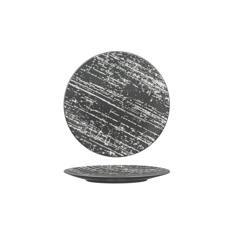 Round Plate - Flat, 210mm, Drizzle Grey & White