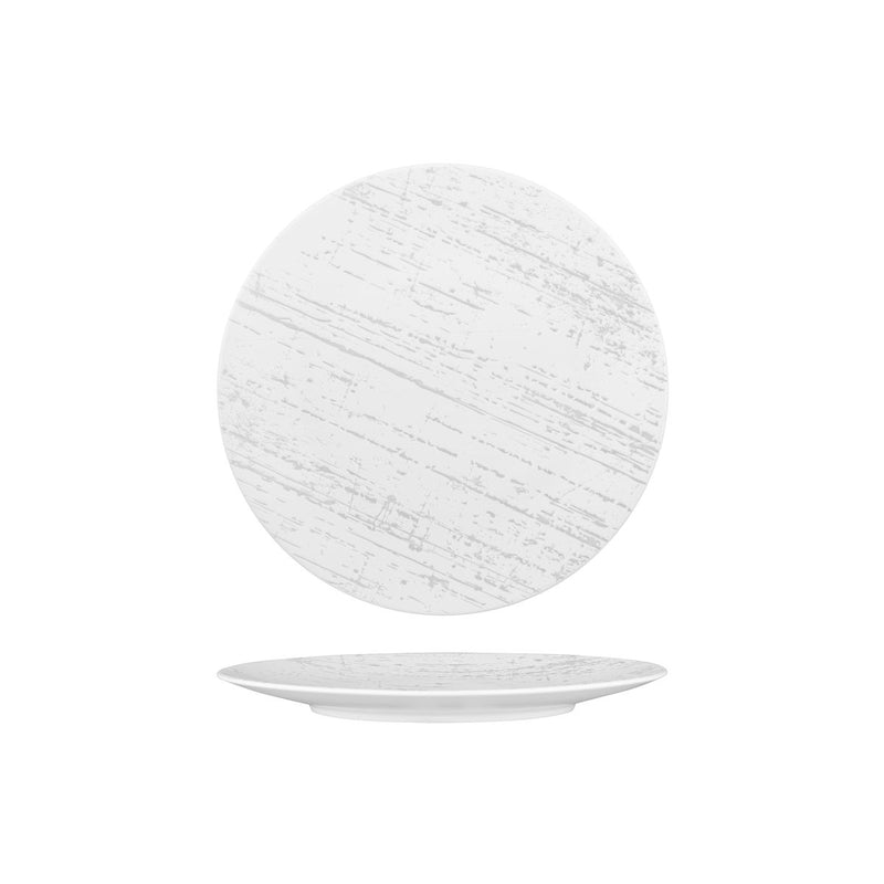Round Plate - Flat, 230mm, Drizzle White & Grey