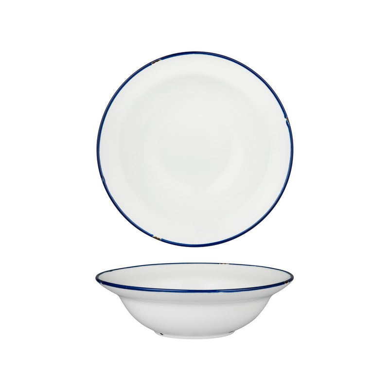Deep Bowl Plate - 220mm, Tintin White & Navy