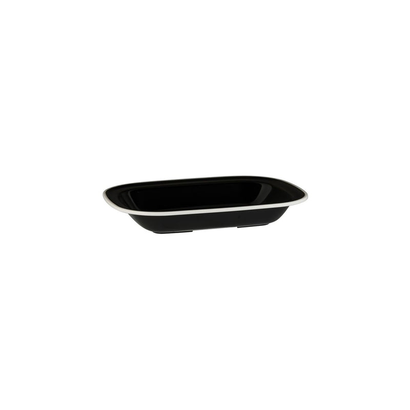 Rectangular Dish, 200 x 145 x 45mm, Melamine - Black & White