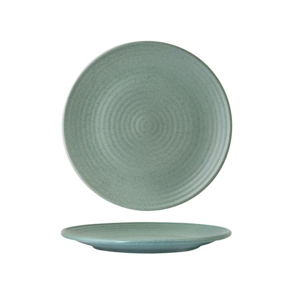 Round Coupe Plate - Ribbed, 210mm, Zuma Mint