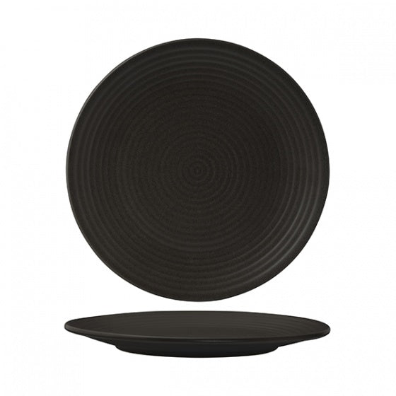 Round Coupe Plate - Ribbed, 265mm, Zuma Charcoal