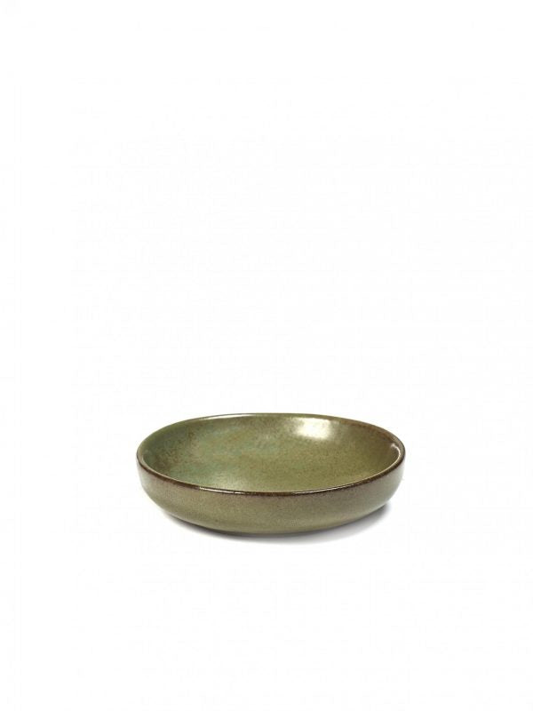 Round Olive-Sauce Dish Surface - 90x20mm, Camogreen