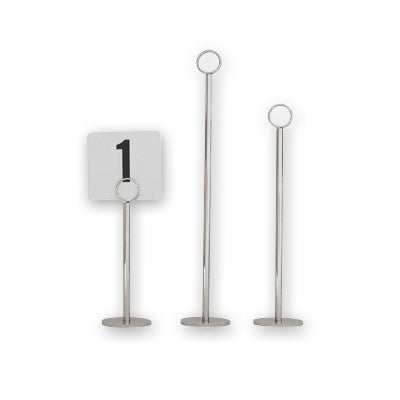 Table Number Stand - Ring Clip, 300mm, Heavy Base