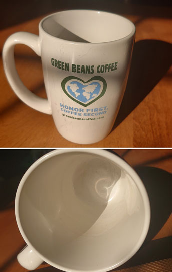 Green Bean Coffee Mug Scratched and Damaged