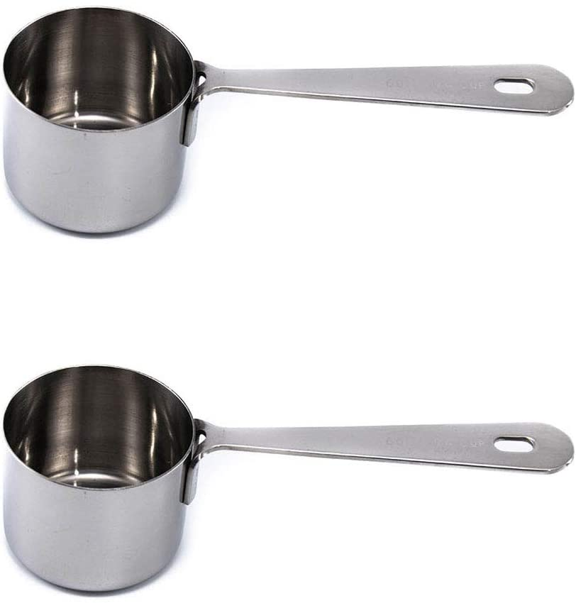 Leave-in Measuring Scoop Set of 2: 1/4 Cup 60 ML , Polished Stainless Steel