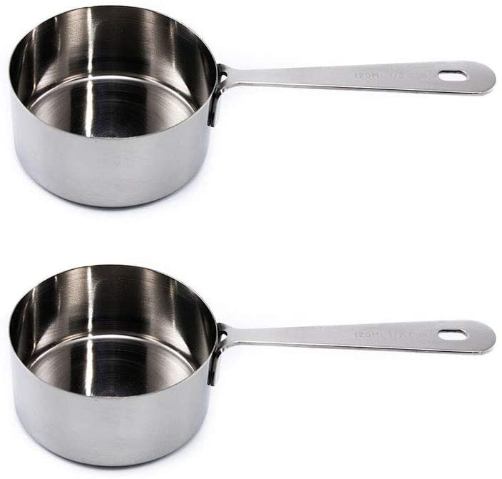 Measuring Cups Set of 2: 1/2 Cup 120 ML , Polished Stainless Steel