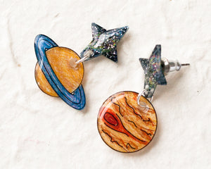 Jupiter and Saturn Planet Space Galaxy Earrings
