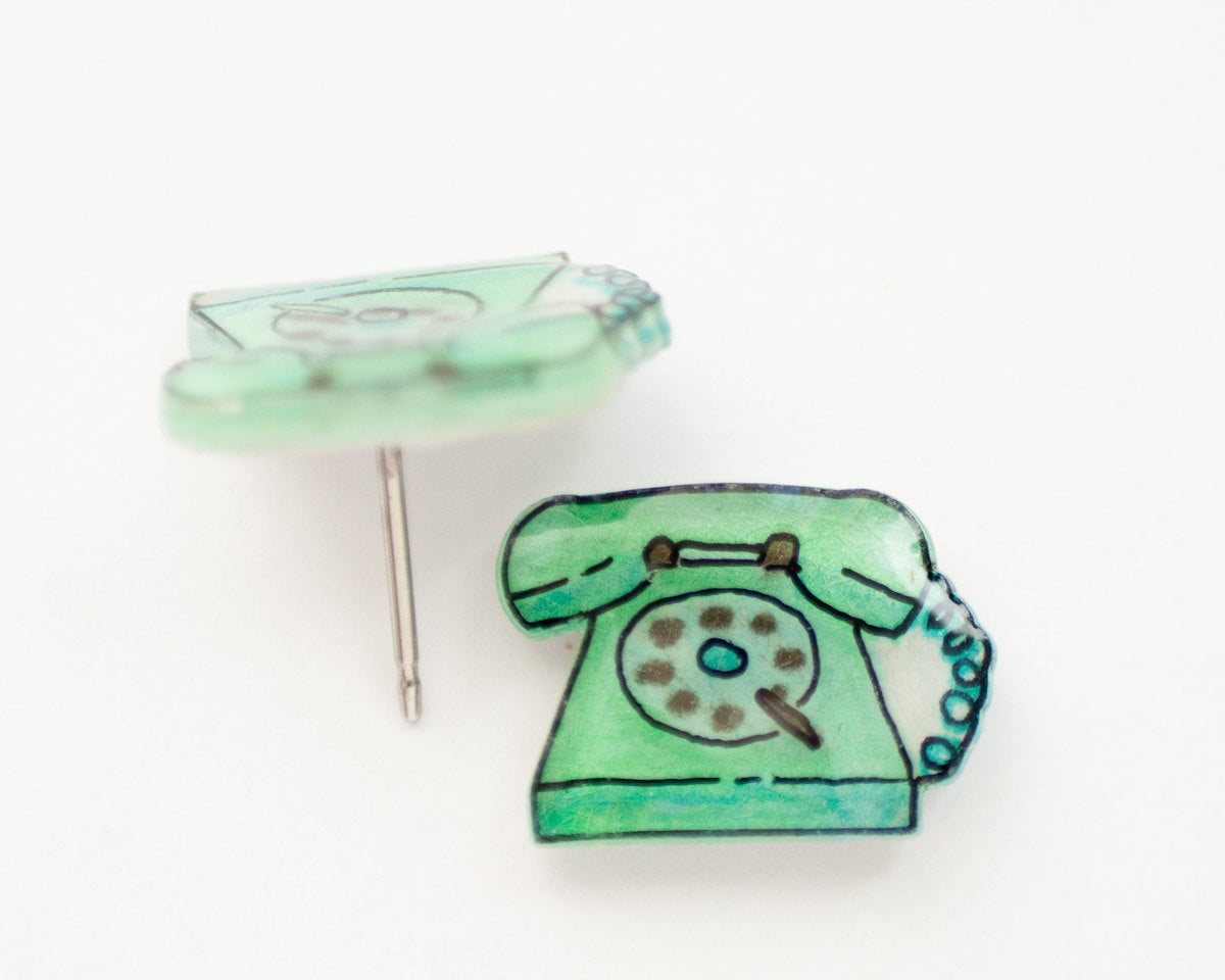 Vintage Green Phone Stud Earrings