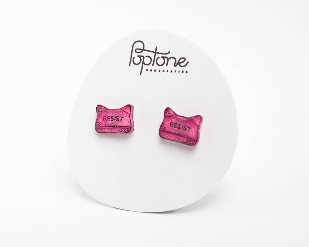 Resist Pussy Hat Stud Earrings