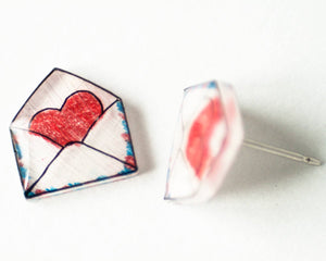 Heart Envelope Valentine's Stud Earrings