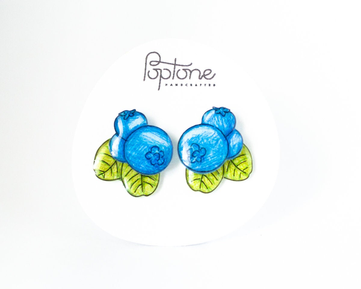 Blueberry Statement Stud Earrings with Leaf Ear Jackets