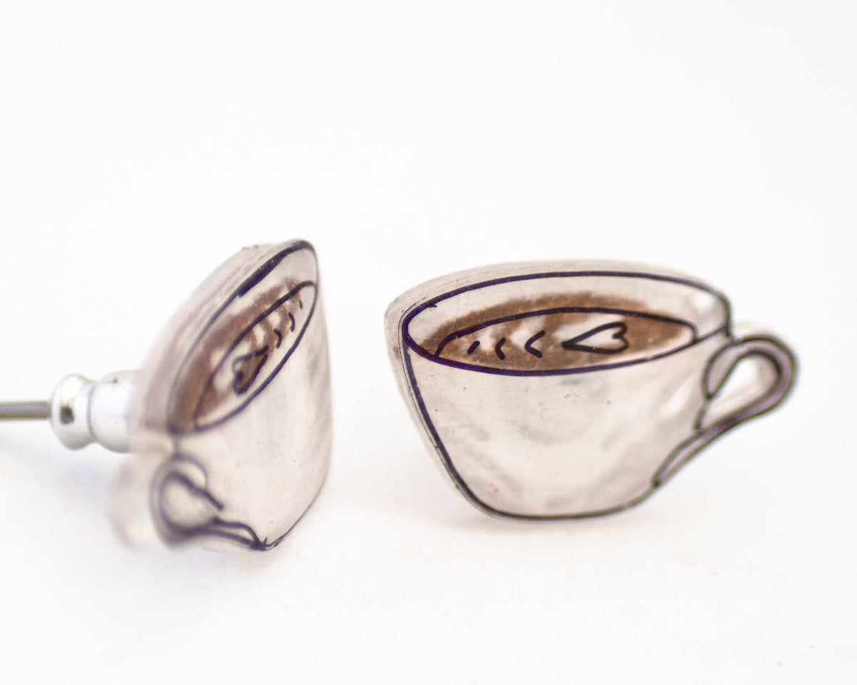 Coffee Latte Stud Earrings